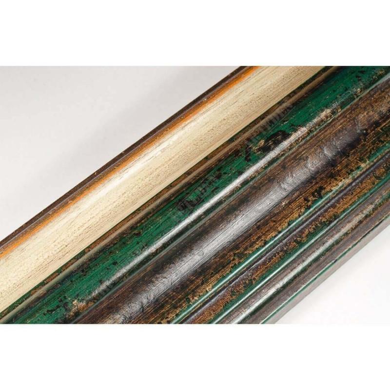 BOE187.93.047 89x54 - szeroka classico verde gola bianco filo oro rama do obrazów i luster