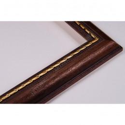 ASO111.23.087 23x15 - wąska cortesella orzech+złota rama do obrazów i luster