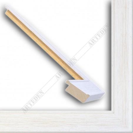 INK5640.185 38x14 - biała przecierana rama do obrazów i luster