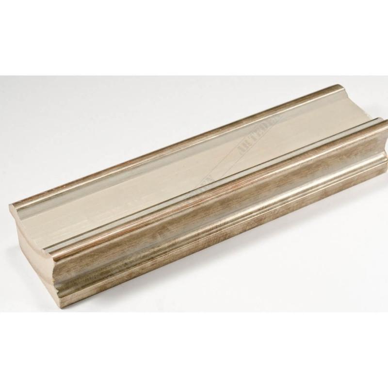INK6201.686 45x25 - drewniana avorio ze srebrnymi brzegami rama do obrazów i luster