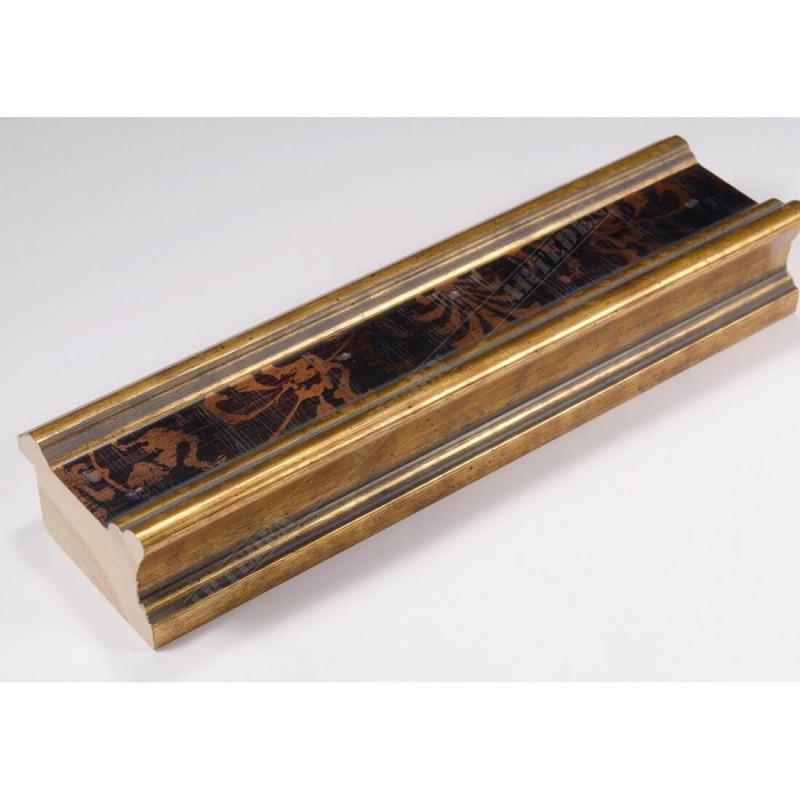 INK6201.997 45x25 - drewniana czarna-złote brzegi ze wzorkiem rama do obrazów i luster