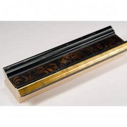 INK6201.999 45x25 - drewniana czarna-złoty felc ze wzorkiem rama do obrazów i luster