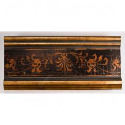 INK6202.997 70x30 - drewniana czarna-złote brzegi-wzorek rama do obrazów i luster sample1