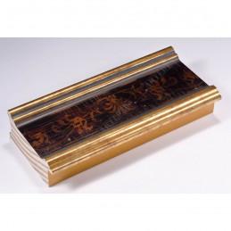 INK6202.997 70x30 - drewniana czarna-złote brzegi-wzorek rama do obrazów i luster sample