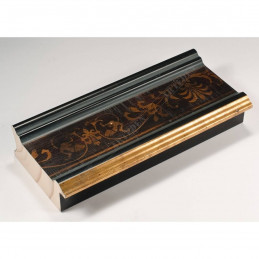 INK6202.999 70x30 - drewniana czarna-złoty felc-wzorek rama do obrazów i luster