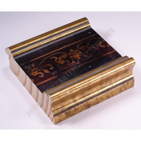 INK6203.997 105x37 - czarna rama ze wzorkiem złote brzegi do luster