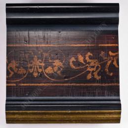INK6203.999 105x37 - czarna-złoty felc-wzorek rama do dużych obrazów i luster sample1