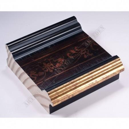 INK6203.999 105x37 - czarna rama ze wzorkiem złoty felc do luster