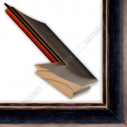 INK7502.471 70x30 - drewniana czarna mat przecierka rama do obrazów i luster sample