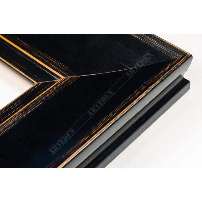INK7502.471 70x30 - drewniana czarna mat przecierka rama do obrazów i luster