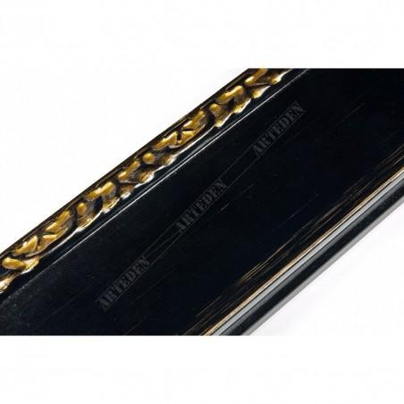 INK7522.771 70x30 - czarna rama z dekorem do obrazów i luster