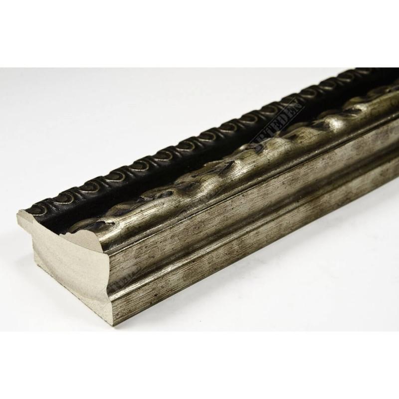 INK7531.476 45x25 - drewniana ciemny brąz-srebrny dekor rama do obrazów i luster