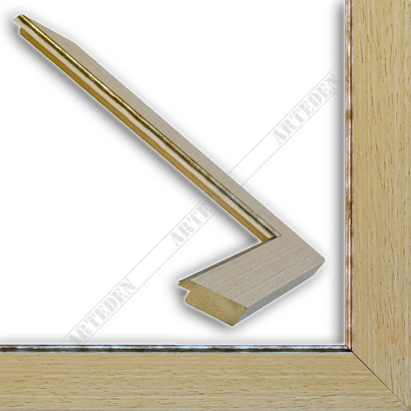 INK9016.686 33x13 - drewniana beżowa rama do obrazów i luster