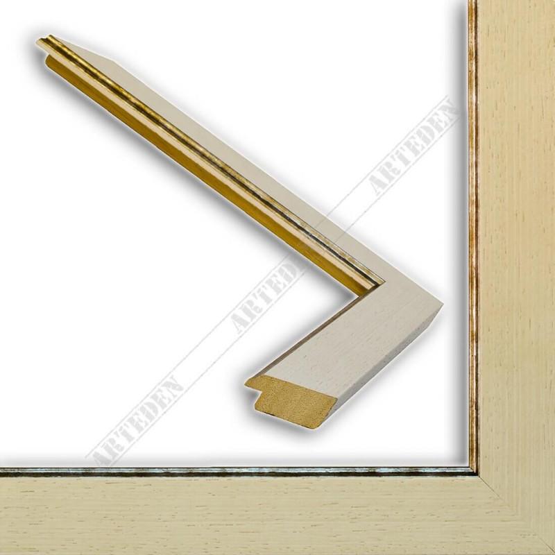 INK9016.680 33x13 - drewniana kremowa rama do obrazów i luster