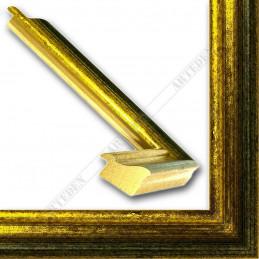 LMF618.131.1014 27x18 - wąska złota przecierana - zielona rama do zdjęć i luster sample