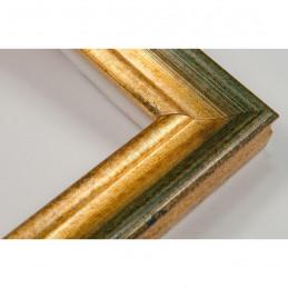LMF618.131.1014 27x18 - wąska złota przecierana - zielona rama do zdjęć i luster