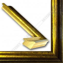 LMF618.131.1016 27x18 - wąska złota przecierana - czarna rama do zdjęć i luster