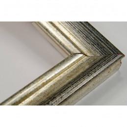 LMF618.131.3012 27x18 - wąska srebrna przecierana - czarna rama do zdjęć i luster