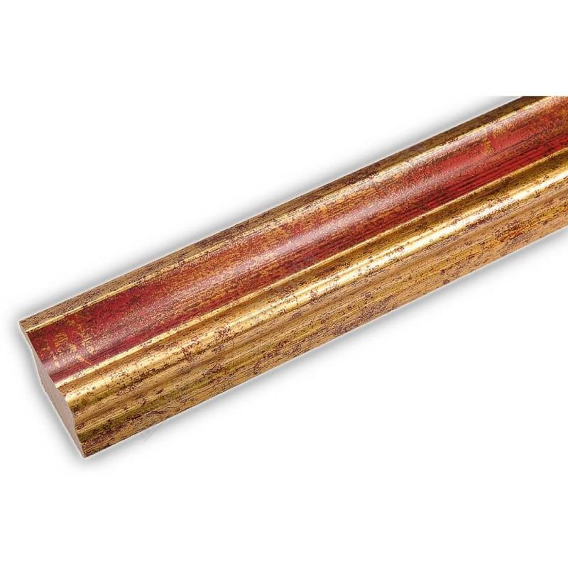 PLA735/0693 35x25 - drewniana złota-czerwień rama do obrazów i luster