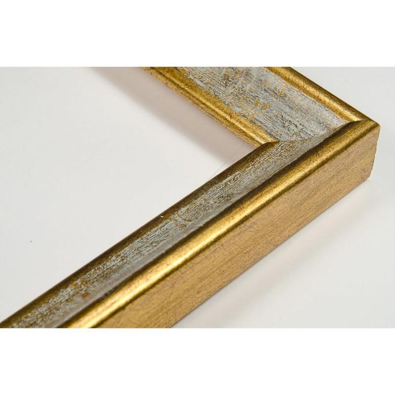 SCO145/98 23x23 - wąska classica złota-biała rama do zdjęć i luster
