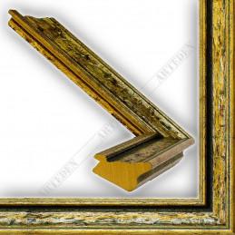 SCO167/12 33x22 - drewniana anciennes zielona patynowana rama do obrazów i luster sample