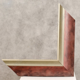 SCO2020/203 45x23 - drewniana pastelli czerwona-srebrna rama do obrazów i luster sample