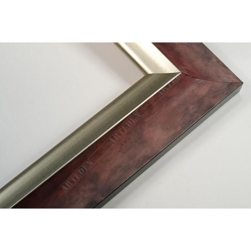 SCO2020/203 45x23 - drewniana pastelli czerwona-srebrna rama do obrazów i luster