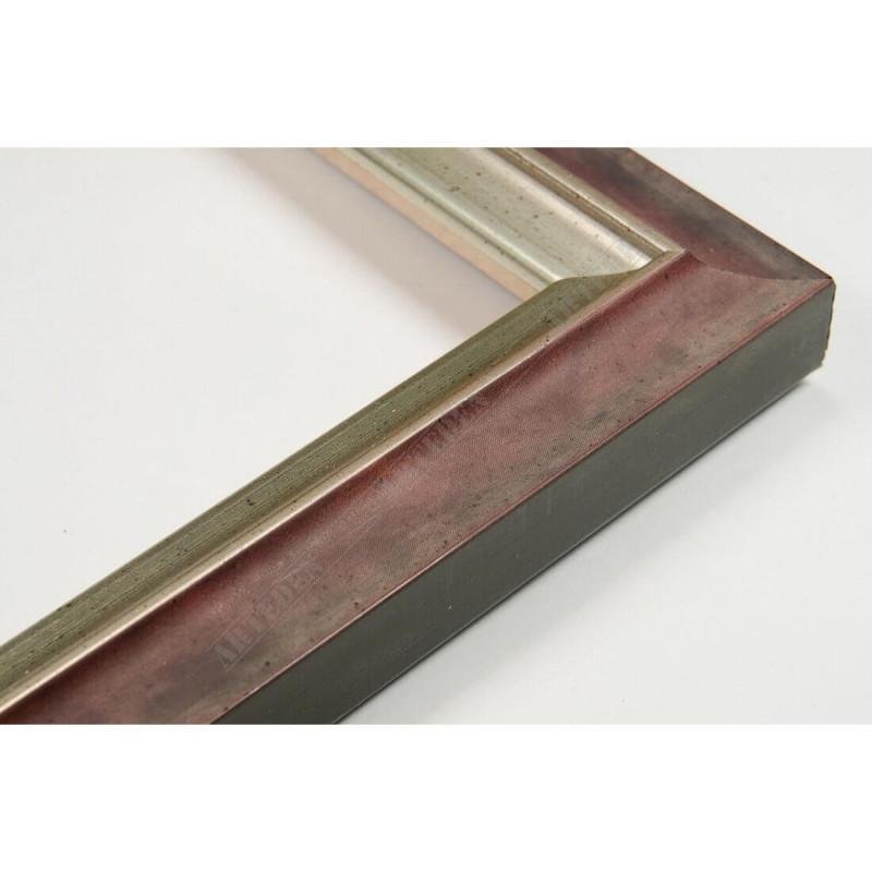 SCO2021/203 26x20 - wąska pastelli czerwona-srebrna rama do zdjęć i luster
