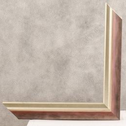 SCO2021/203 26x20 - wąska pastelli czerwona-srebrna rama do zdjęć i luster sample