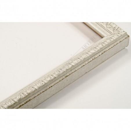 SCO513/59 16x20 - biała ramka do zdjęć z biało-srebrnym dekorem
