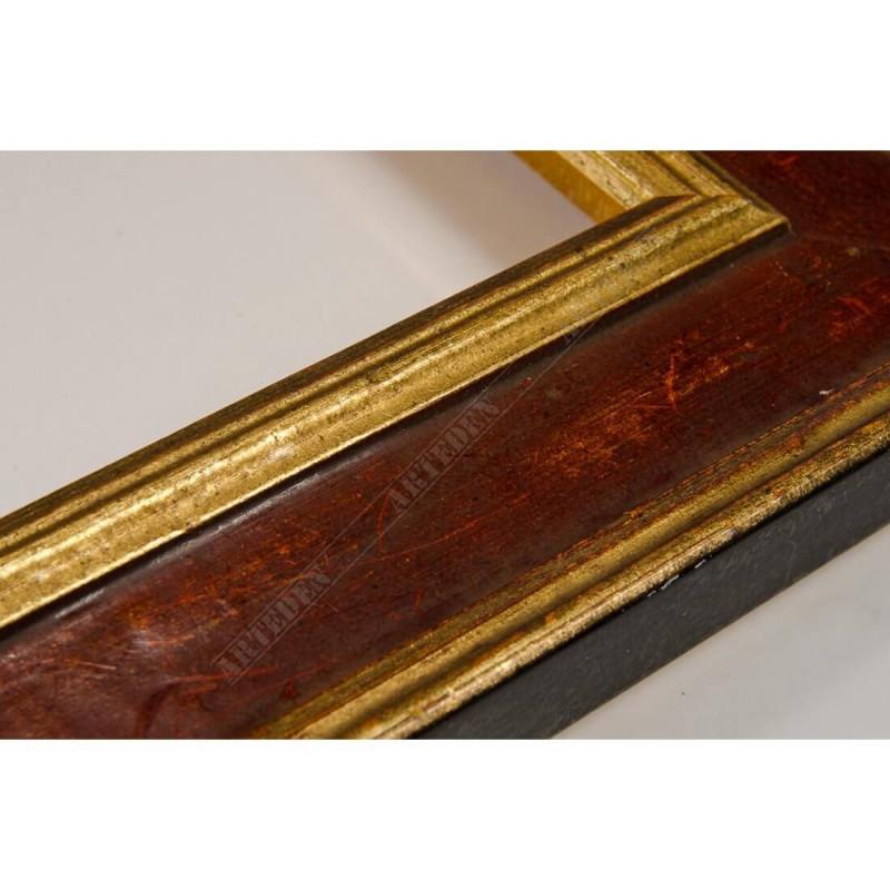 SCO826/44 47x19 - drewniana złota-bordowa rama do obrazów i luster