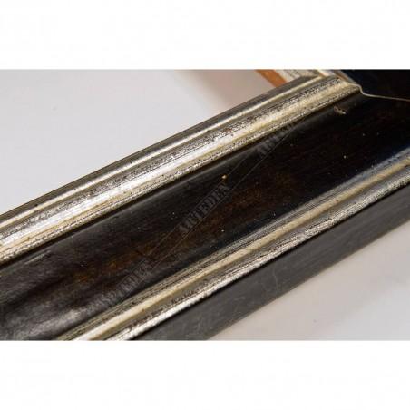 SCO826/48 47x19 - drewniana srebrna-czarna rama do obrazów i luster