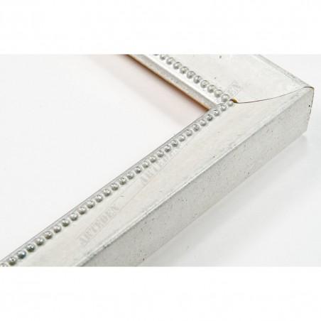SCO959/149 25x23 - wąska biała-srebrna rama do zdjęć i luster
