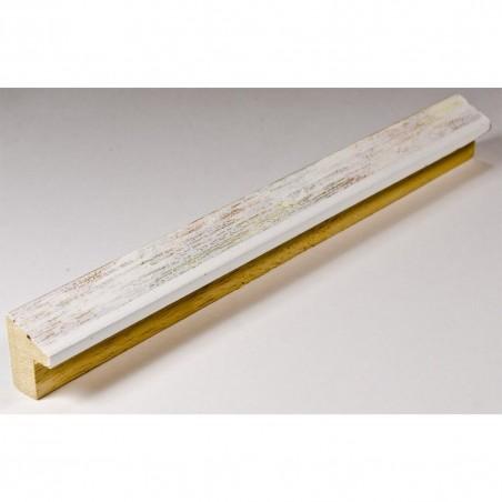 SCO601/475 15x20 - mała biała skośna ramka ze złotą przecierką