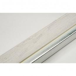 LMF1851 35x15 - drewniana bianco - srebrny pasek rama do obrazów i luster