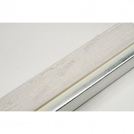 LMF1851 35x15 - bianco rama ze srebrnym paskiem do obrazów