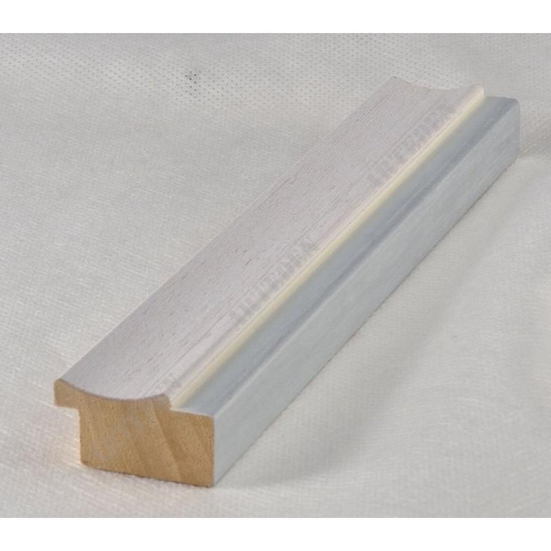 LMF1851 35x15 - drewniana bianco - srebrny pasek rama do obrazów i luster sample