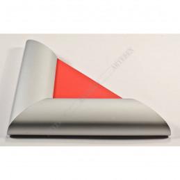ALUS7 - szeroka rama aluminiowa srebrna anoda owal - narożnik red