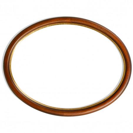 RO/3FF orzechowa owalna rama drewniana ze złotym paskiem