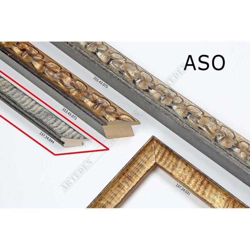 ASO237.34.044 25x25 - wąska srebrna postarzana rama do zdjęć i luster